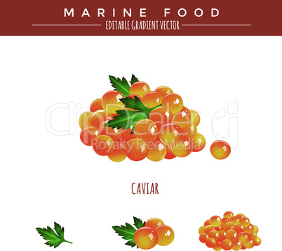 Red caviar illustration. Marine food, editable gradient vector