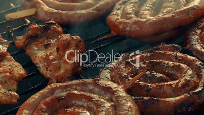 Ultra Close-up Barbecue (BBQ) Shot Showing Pork, Beef, Poultry and Chicken Meat