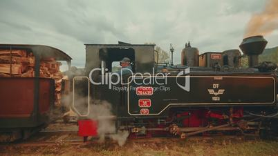 Industrial Steam Freight Train in a Small Rural Village - Side View