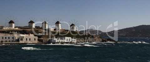 windmill on the island of Mykonos in Greece. panorama