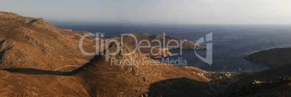 bird's eye view of the island. Greece. panorama
