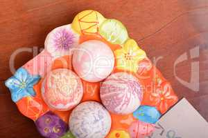 Hand painted Easter eggs, Happy Easter invitation card
