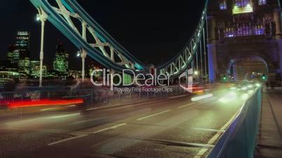 Tower Bridge Traffic Timelapse Close-up