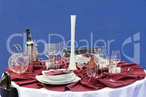 glasses and dinner service