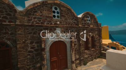Traditional Mediterranean Stone Rustic House Panning Shot