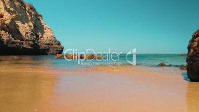 Low Angle Beach Shore Shot in the Algarve, Portugal