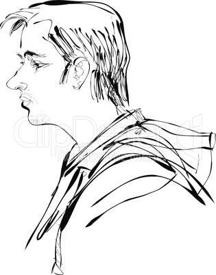 Abstract man portrait profile vector illustration