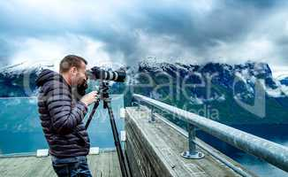 Nature photographer Stegastein Lookout Beautiful Nature Norway.