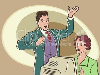 Retro businessman Secretary dictates the text