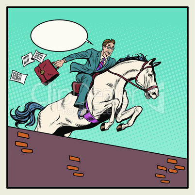 Businessman horseman on horse jumps over barrier