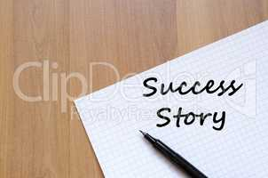 Success story write on notebook