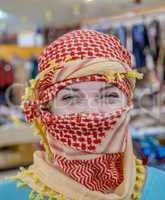 Girl of Slavic appearance wearing a headscarf Arab