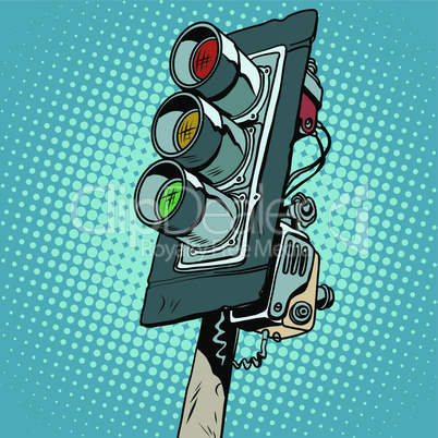 Retro classic three-color traffic light