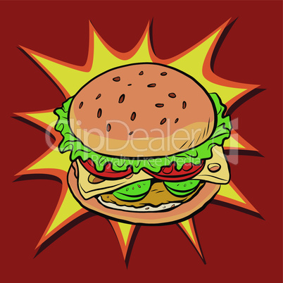 Burger fast food retro pop art