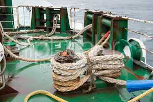 Ship ropes folded on a ship