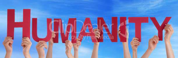 Many People Hands Holding Red Straight Word Humanity Blue Sky
