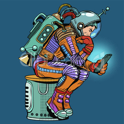 retro astronaut with a smartphone