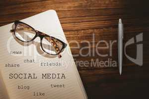 Notebook with social media terms