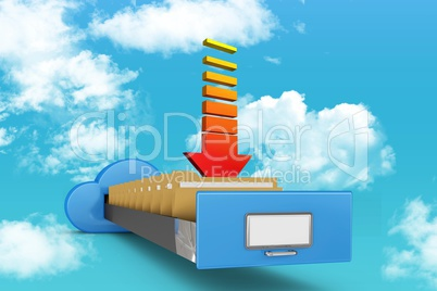 Cloud filing cabinet with arrow