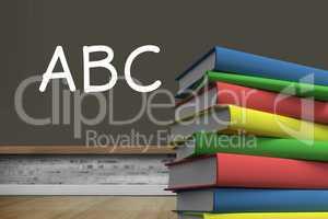 ABC on blackboard in classroom