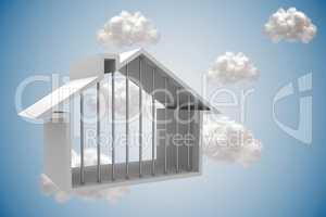 House outline with clouds on blue background