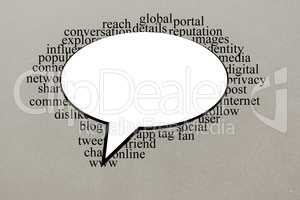 Speech bubble with social media terms