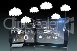 Media device screens showing cloud computing