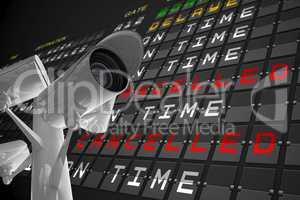 CCTV under airport departures board