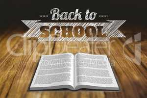 Back to school graphic with open book