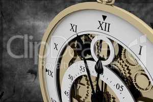 Roman numeral clock on black background