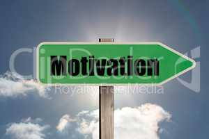 Composite image of green motivation sign