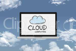 Cloud computing on laptop in sky
