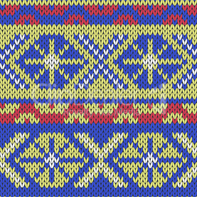 Knitted Seamless Pattern in blue, yellow and red
