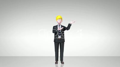 businessman character showing presentation, gesture pointing.1(included alpha)