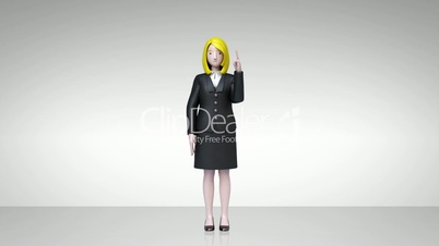 businesswoman character showing presentation, gesture pointing 2(included alpha)