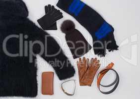 Winter Mode Accessoires im Flat Lay Still