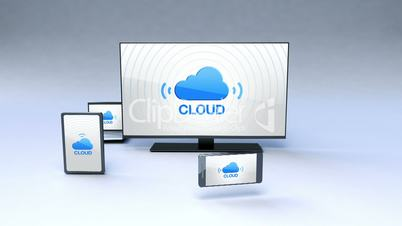 Smart TV arounded various mobile devices ,cloud service concept (included Alpha)