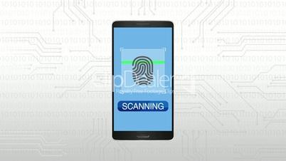 Authentication through Fingerprint, Mobile security concept animation.