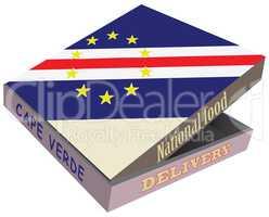 Cardboard box delivery food - national flag Cape Verde