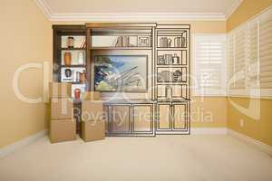 Room with Entertainment Unit Drawing Gradating to Photograph