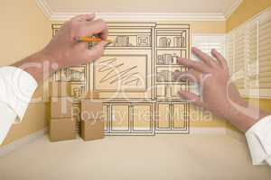 Hands Drawing Entertainment Unit In Room With Moving Boxes
