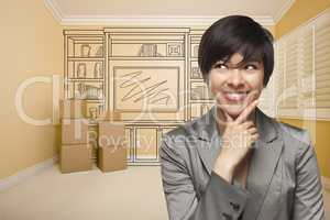 Mixed Race Female In Room With Drawing of Entertainment Unit