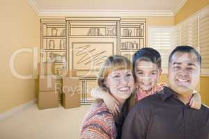 Mixed Race Family In Room With Drawing of Entertainment Unit