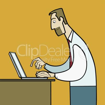man working on laptop flat vector
