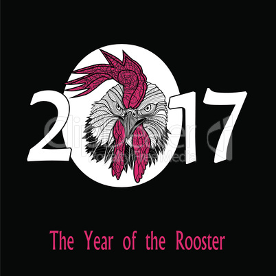 Rooster bird concept of Chinese New Year of the Rooster. Vector hand drawn sketch illustration.