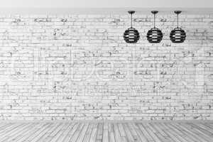 Three lamps against of brick wall background 3d rendering