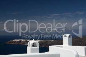Blick auf Oia von Imerovigli, Santorin, Griechenland