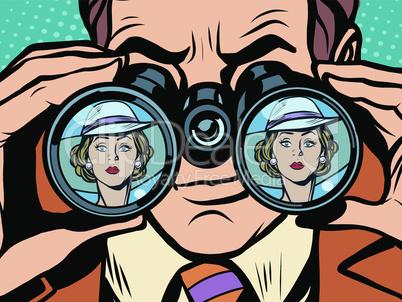 Love couple man woman binoculars