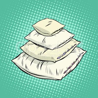 Realistic white pillows, retro vector