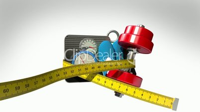 Measuring tape wrapped around Fitness, exercise equipment , Diet concept animation(included Alpha)